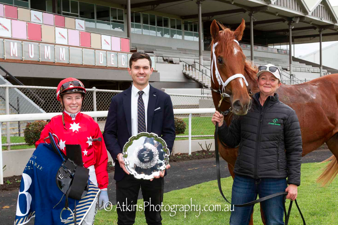 Trevor and Beth Roberston's filly Celebrity girls win the SAJC Oaklands Plate LR